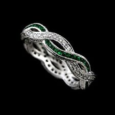FINALE SALE 30% OFF 18K Gold Diamond Emerald Engraved Wedding Band Size 6.75