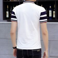 Mens Classic Striped Casual Short Sleeve Breathable Cotton Polo Shirt