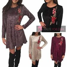 LADIES WOMEN'S LONG SLEEVE FLORAL DETAIL CRUSHED VELVET SWING DRESS S/M M/L