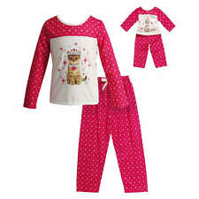 Dollie Me Girl 4-14 and Doll Matching Princess Cat Pajamas Outfit American Girl