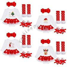 4PCS Baby Girls My First Christmas Santa Romper Fancy Tutu Dress Outfit Clothes