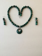 Malachite Chunky Bead and Silver with Malachite Circle Pendant Western Necklace