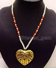 SALE 5-6mm Round Natural White Pearl 20'' necklace & Gold Heart Pendant -nec6152