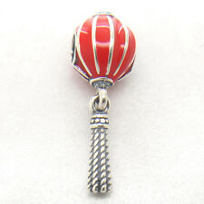 Authentic S925 Sterling Silver Chinese Lantern Red Enamel Dangle Bead
