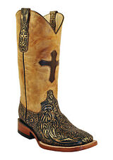 Womens Ferrini Brown Copper Embossed Cross Leather Western S Toe Boots