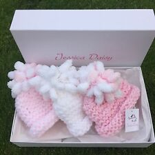 Newborn baby girl hat gift set, sizes: 0-3m, 3-6m, by Jessica Daisy, boxed