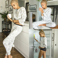 Womens Sweatshirt Pullover + Pants Casual Tracksuit Jogging Gym Sports Suit
