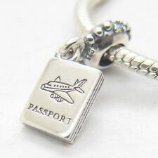 Genuine Sterling Silver Adventure Awaits Passport Clear Cz Dangle Charm