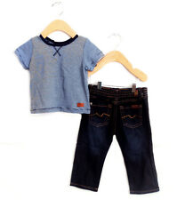 7 For All Mankind Blue Stripe Top & Matching Jean Pants Set- Size-6-9M *NWT*