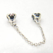 Genuine S925 Sterling Silver Exclusive Mickey & Minnie Hearts Safety Chain Charm