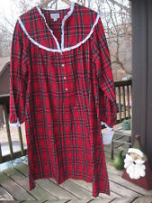 nwt Lanz of Salzburg xl women's long flannel red holiday plaid print nightgown
