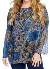 NEW - Paula Deen Printed Woven Long Bell Sleeve Double Layer Tiered Tunic