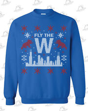 Fly The W Ugly Christmas Crewneck Sweatshirt for Chicago Cubs fans Go Cubs Go
