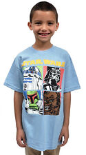 Star Wars Characters Four Squares Youth Boys T-Shirt Blue
