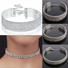 Charm Clear Crystal Diamond Rhinestone Choker Necklace Silver Wedding Party Prom