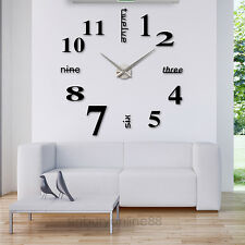 Modern DIY Mute Large Wall Clock 3D Mirror Surface Sticker Home Decoration Gift
