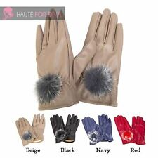 NEW FAUX FUR POM POM DETAIL LADIES WOMEN'S FAUX LEATHER WINTER GLOVES ONE SIZE