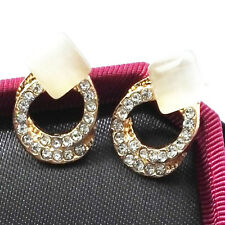 1 Pair Women Lady Gifts Elegant Crystal Rhinestone Ear Stud Drop Gold Earrings