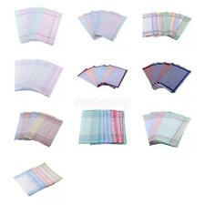 12pcs Mens Handkerchiefs 100% Cotton Pocket Square Hanky Handkerchief 37x37cm
