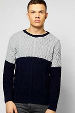 Boohoo Mens Contrast Cable Knit Crew Neck Jumper