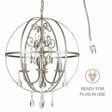 ORB CHANDELIER Crystal Beads 4 Light Round Cage Sphere Ceiling Fixture Lighting