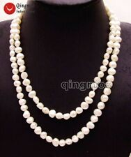 "Fashion Natural White 8-9mm Baroque freshwater pearl Long 40"" necklace-nec6155"