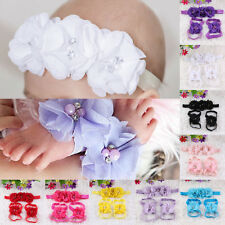 Cute Foot Flower Barefoot Sandals Shoes Baby Girl Infant Kids Headband Hairband