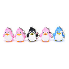 Cute Animal Penguin LED Light With Sound Key Chain Keyring Ring Torch Gift ToySP
