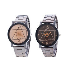 Retro Womens Mens Stainless Steel Watches Compass Quartz Analog Wrist Watch SP
