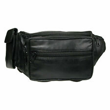 Black Bumbag Money Belt Real Leather Waist Mobile Pouch 1004