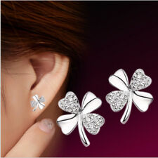 Elegant Women 925 Sterling Silver Plated Crystal Rhinestone Ear Stud Earrings