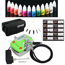 OPHIR 0.3mm Airbrush Kit 12x Nail Airbrush nail Ink Stencil&Bag&Cleaning Brush