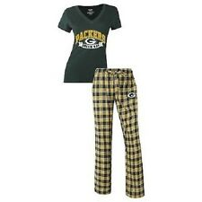 Ladies Medalist Pajamas 2 Piece Sleep Set Shirt Plaid Pants Green Bay Packers