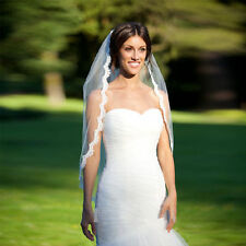 White Ivory Wedding Bridal Veil One-tier Fingertip Veils Lace Edge With Comb s11