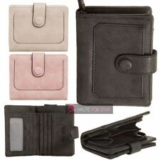 NEW LADIES FAUX LEATHER PURSE PANEL DETAIL SNAP ZIP POCKET WALLET