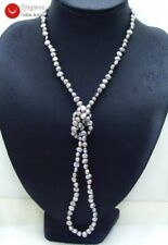 """Fashion Natural Gray 6-7mm Baroque freshwater pearl Long 40"""" necklace-nec6114"""