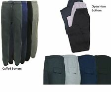 MENS CUFFED AND OPEN HEM FLEECE JOGGERS JOGGING TRACKSUIT BOTTOMS TROUSERS M-6XL