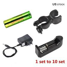 1 - 10 Set Skywolfeye 18650 Battery + Charger + Direct Adapter + Cycling Clip DH