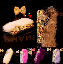 Luxury Bling Diamiond soft fox fur phone case cover for Apple iphone 6s 7 Plus