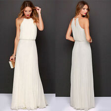 Women's Halter Chiffon Formal Evening Party Bridesmaid Cocktail Beach Dress Maxi
