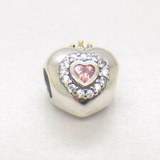 Authentic Genuine S925 Silver /Gold SHARE Princess heart pink cz Charm