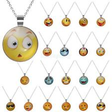 Silver Plated Jewelry Emoji Smiley Glass Cabochon Pendant Necklace for Womens