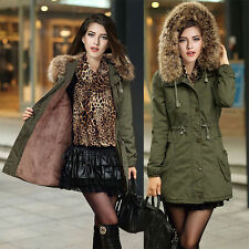 Womens Winter Warm Long Coat Fur Hooded Parka Thicken Overcoat Jacket Outwear