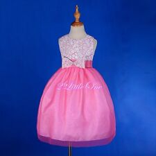Lace Scoop Flower Girl Dress Wedding Pageant Party Occasion Size 18M-8 #266