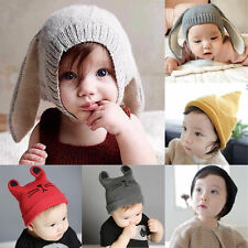 Girls Boys Baby Kids Toddler Crochet Earflap Beanie Hat Newborn Warm Soft Cap