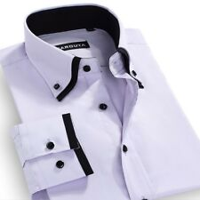 Men's Double Collar Long Sleeved Solid Dress Shirts Cotton Blend
