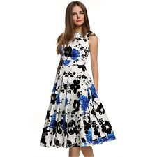 Slim Floral Print Women's Ball Gown Long Swing Pinup Party Dress