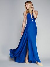 Long Halter Backless Summer Dress Bohemian Beach Maxi Dresses V Neck Loose