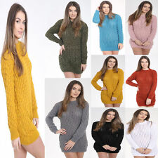 New Women's Oversized Cable knit Chunky Warm Ladies Jumper Sweater Top Size 8-14