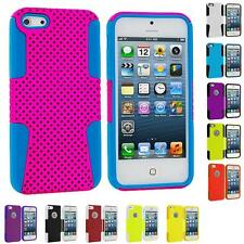 For iPhone 5 5G 5th Accessory Color Hybrid Mesh Hard/Soft Silicone Case Cover